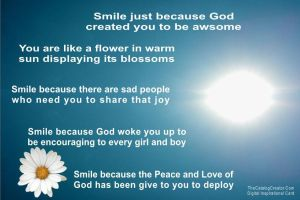 Smile just because-Digital Inspirational Card by thecatalogcreator