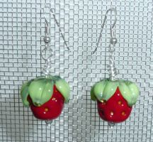 Strawberry Earrings by Mystic-Mosaics