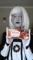 homemade GLaDOS cosplay no.3 close up with cake by i-got-S-H-E-R-locked
