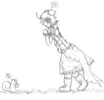 Sketch 02 - Miwa and Squirrel by ShoShinjo