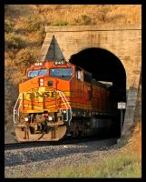 BNSF 845 out of Tunnel 1 by photogatlarge