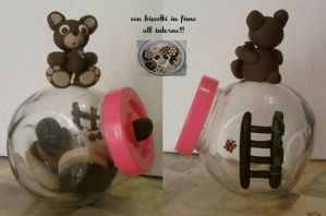 Vase with bear and biscuits fimo by bimbalove81