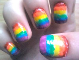 Rainbow Nail Design by Experimently-Bernsie