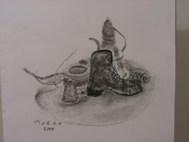 still life with shoe by Moenn