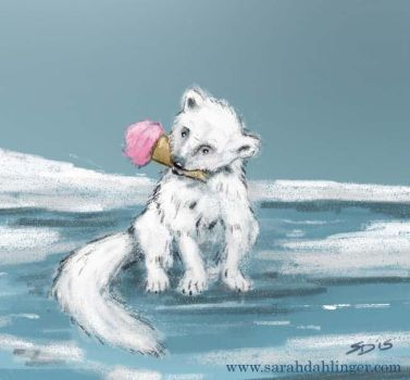 Arctic Fox and His Ice cream by Waterbear