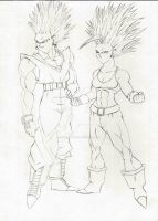 Vegito and Bulla Ascended SSJ2 sketch by DavidsKovach