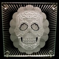 Sugar Skull glass coaster size by ImaginedGlass