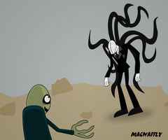 Slender Man Vs. Salad Fingers by MacWaffly