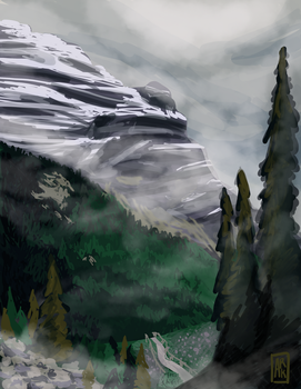 Mountain Speed Painting by arkenthian