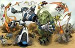 Dinosaurs Vs Robots Spread by KendallHaleArt