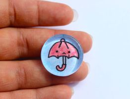 Hand Drawn Glass Red Umbrella Ring by PinkChocolate14