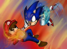 Mario Vs. Sonic by jacobmester