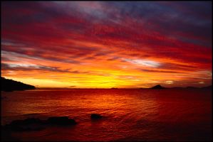 Ocean and sky on fire 1 by wildplaces