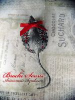 Brooch Red and Silver Mouse by Verope