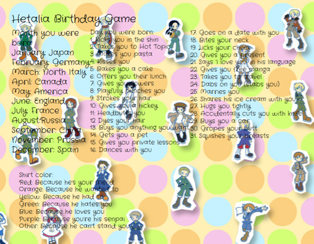 Hetalia Birthday Game by HetariaNerdxx