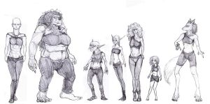 Races (female version) (study for a RPG) by GarmrKiDar