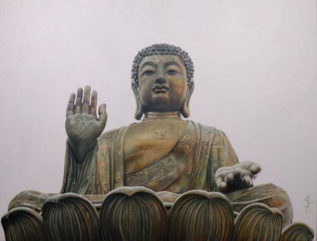 Buddha painting in Oil by jkstress321