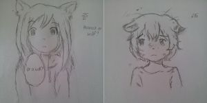 Wolf Children Ame and Yuki Drawing by MegaBleachy