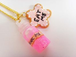 Alice in Wonderland Eat Me Drink Me Pink Necklace by tyney123
