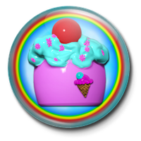 Rainbow Cupcake Button by EvilCatArts