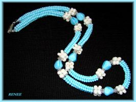 Blue and white necklace by jasmin7