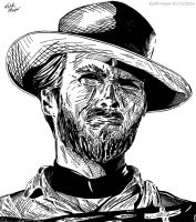 Clint Eastwood - Man with no Name (Ink) by KeithMeyerArt