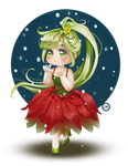 Waiting the first snow - Chibi Poinsettia by Aramisdream