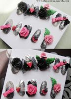 KAWAII DECO BLACK ROSE NAILS by jadelushdesigns