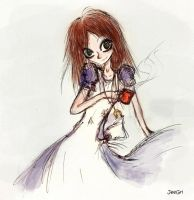 Alice and tea. Sketch. by JeeGri