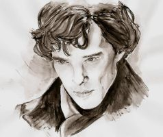 Sherlock (watercolour) by Junjeeaieyu