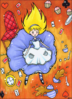 Alice Falling ACEO by tea-bug