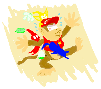 'draw Diddy under attack from pikmin' by antiderivativebanana