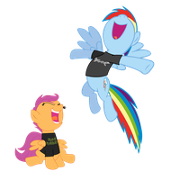 MhP : Rainbow Dragonforce and Iron Scootaloo by ShadyHorseman