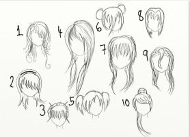 10 Hairstyles by RadiantManga