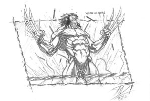 Wolverine Reborn like Weapon X - sketch (A5 size) by darnof