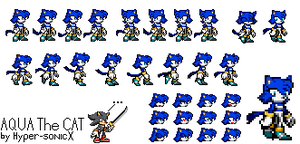 Aqua the Cat Sprites by LucarioShirona