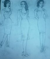 40s, 50s, 60s dress design sketches by DorkaliciousRisa