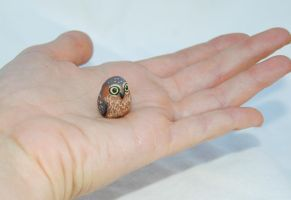 Tiny Polymer Clay Sculpted Owl by amber-rose-creations