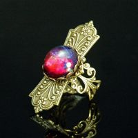 Steampunk Fire Opal Ring by Cori35
