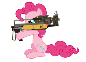 pinkie and her Fatmare Mini Nuke Launcher by MetaDragonArt