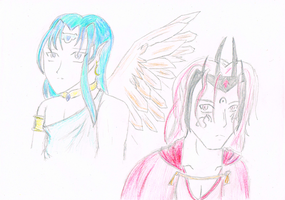 Manwe and Melkor by goodwinfangirl