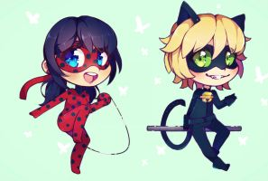 Miraculous Ladybug and Chat Noir ~ chibi / doodle by Hitomi-chy