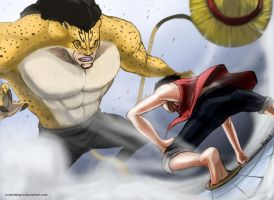 Monkey D. Luffy vs. Rob Lucci by ExiaLohengrin