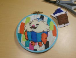 Mr. Cupcake Embroidery Hoop by monstersbyechidna