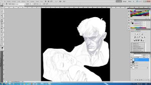 Dylan Dog and Lillie [step1] by aRmydesigner