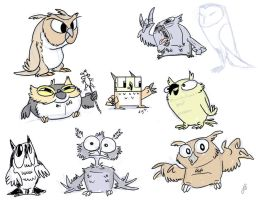 Owltober 10 Owl Sketches by killintyme