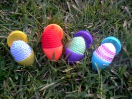 Crocheted Eggs by couldvebeendifferent