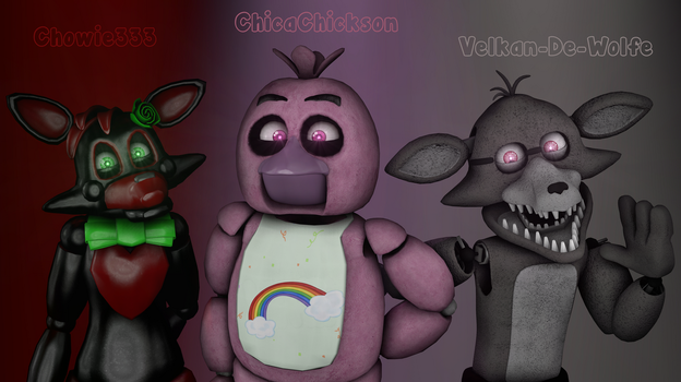 Chowie333, ChicaChickson and Velkan-De-Wolfe by ChicaChickson