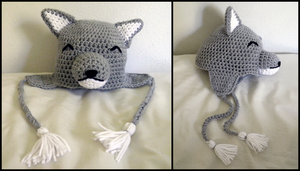 Light Gray Wolf Hat by theCuddlyCephalopod