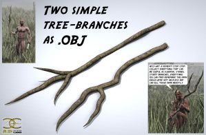 Two simple Tree-Branches as .OBJ by ancestorsrelic